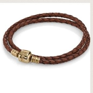 COPY - Pandora double wrap. 14k clasp & brown lea…